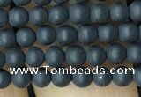 CAA2446 15.5 inches 3mm round matte black agate beads wholesale
