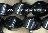 CAA2485 15.5 inches 8*12mm twisted rice black agate beads