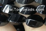 CAA2490 15.5 inches 6*12mm faceted & twisted rice black agate beads