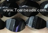 CAA2493 15.5 inches 8*12mm faceted & twisted rice black agate beads