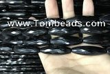 CAA2508 15.5 inches 12*50mm faceted rice black agate beads wholesale