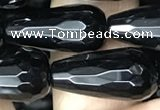 CAA2515 15.5 inches 10*20mm faceted teardrop black agate beads