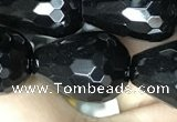 CAA2517 15.5 inches 15*20mm faceted teardrop black agate beads