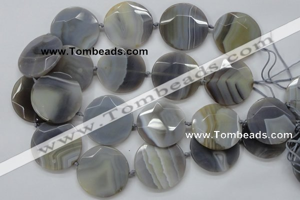 CAA252 15.5 inches 40mm faceted coin grey line agate beads