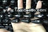 CAA2521 15.5 inches 15*30mm faceted teardrop black agate beads