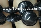 CAA2525 15.5 inches 8mm flat round black agate beads wholesale