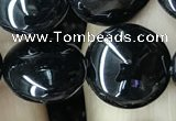 CAA2528 15.5 inches 14mm flat round black agate beads wholesale