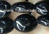 CAA2536 15.5 inches 8*10mm oval black agate beads wholesale