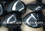 CAA2547 15.5 inches 10*14mm flat teardrop black agate beads wholesale