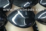 CAA2549 15.5 inches 13*18mm flat teardrop black agate beads wholesale