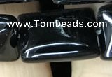 CAA2570 15.5 inches 18*25mm rectangle black agate beads wholesale