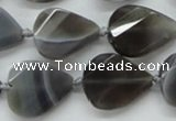 CAA259 15.5 inches 20*26mm twisted & faceted teardrop grey line agate beads