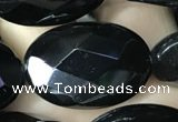 CAA2596 15.5 inches 18*25mm faceted oval black agate beads wholesale