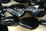 CAA2600 15.5 inches 8*12mm faceted flat teardrop black agate beads