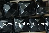 CAA2607 15.5 inches 8*8mm faceted square black agate beads