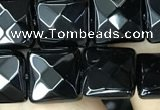 CAA2609 15.5 inches 12*12mm faceted square black agate beads