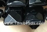 CAA2611 15.5 inches 16*16mm faceted square black agate beads