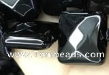 CAA2613 15.5 inches 20*20mm faceted square black agate beads