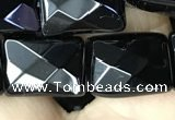 CAA2620 15.5 inches 12*16mm faceted rectangle black agate beads