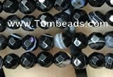CAA2644 15.5 inches 4mm faceted round banded black agate beads