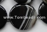CAA266 15.5 inches 34mm flat round black line agate gemstone beads