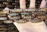 CAA2664 15.5 inches 10*28mm - 11*30mm rice tibetan agate dzi beads