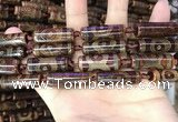 CAA2665 15.5 inches 8*28mm - 10*31mm tube tibetan agate dzi beads