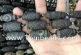CAA2673 15.5 inches 12*30mm - 14*30mm rice tibetan agate dzi beads