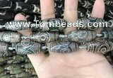 CAA2687 15.5 inches 12*30mm - 14*30mm rice tibetan agate dzi beads
