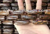 CAA2697 15.5 inches 14*38mm - 16*43mm rice tibetan agate dzi beads