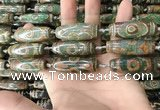 CAA2711 15.5 inches 14*38mm - 16*43mm rice tibetan agate dzi beads
