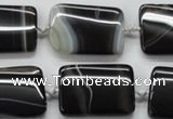 CAA272 15.5 inches 22*30mm rectangle black line agate beads