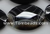 CAA276 15.5 inches 30*40mm faceted oval black line agate beads