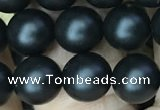 CAA2763 15.5 inches 8mm round matte black agate beads wholesale