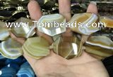 CAA2770 25*32mm - 27*35mm faceted freeform line agate beads