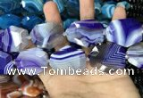 CAA2771 25*32mm - 27*35mm faceted freeform line agate beads