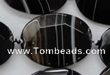 CAA282 15.5 inches 30*40mm faceted oval black line agate beads