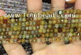 CAA2845 15 inches 4mm faceted round fire crackle agate beads wholesale