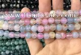 CAA2960 15 inches 8mm faceted round fire crackle agate beads wholesale