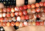 CAA2991 15 inches 8mm faceted round fire crackle agate beads wholesale