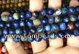 CAA2998 15 inches 8mm faceted round fire crackle agate beads wholesale