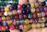 CAA3007 15 inches 8mm faceted round fire crackle agate beads wholesale