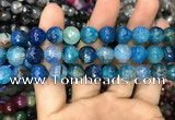 CAA3047 15 inches 10mm faceted round fire crackle agate beads wholesale