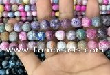 CAA3065 15 inches 10mm faceted round fire crackle agate beads wholesale
