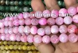 CAA3068 15 inches 10mm faceted round fire crackle agate beads wholesale