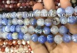 CAA3078 15 inches 10mm faceted round fire crackle agate beads wholesale