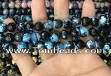 CAA3088 15 inches 10mm faceted round fire crackle agate beads wholesale