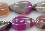 CAA312 15.5 inches 22*30mm flat teardrop fuchsia line agate beads