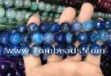 CAA3133 15 inches 12mm faceted round fire crackle agate beads wholesale