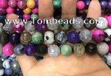 CAA3149 15 inches 12mm faceted round fire crackle agate beads wholesale